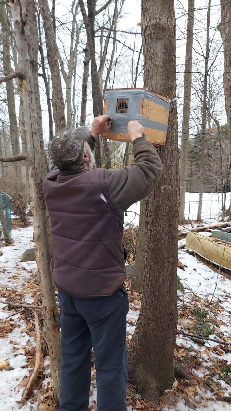 Nesting Box Being Mounted