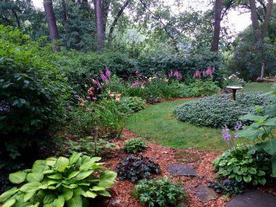 Perennials bloom with a Bird Bath In the center of the yard by Karen Holmen