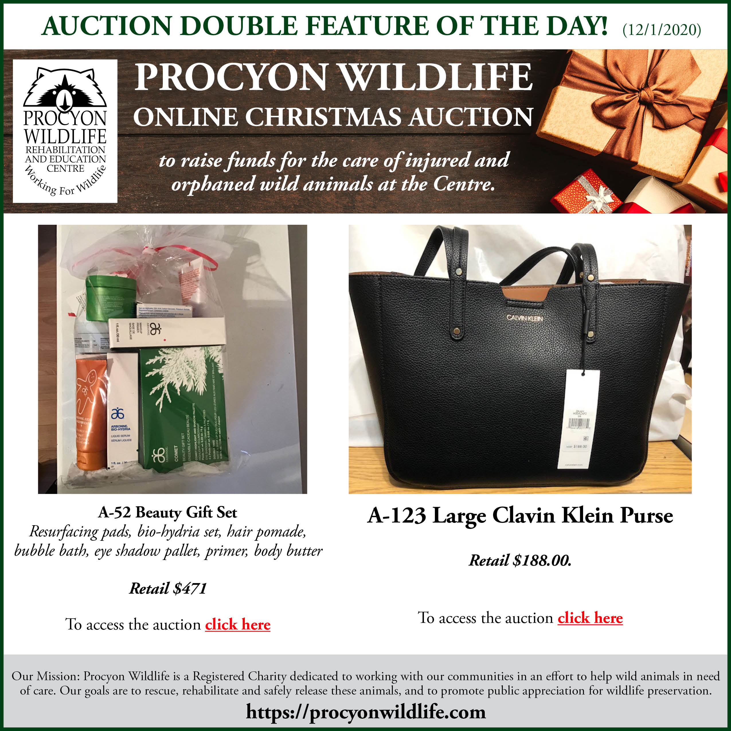 Auction Double Feature Of The Day A 52 Beauty Gift Set And A 123 Large Calvin Klein Handbag Procyon Wildlife